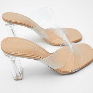 NEW! Zara Clear Double Strap Heel Sz 9 HOT!